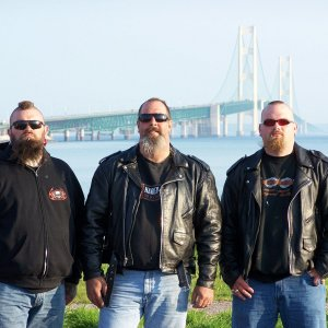 Myself a friend named Paul and my Son at Mackinac Bridge